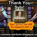 Thank you Sylvester for VIP! :)