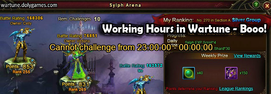 Sylph Arena working hours wartune