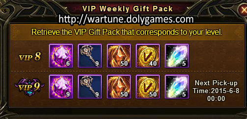 VIP Level 9 Weekly Rewards for Western Wartune
