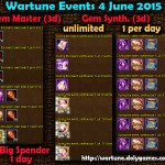 Wartune Events 4 June 2015
