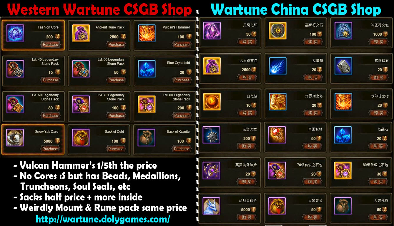Wartune CSGB Shop comparison China vs Western