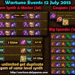Wartune Events 12 July 2015