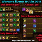 Wartune Events 19 July 2015