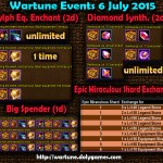 Wartune Events 6 July 2015