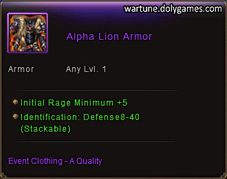 Alpha Lion Armor item description