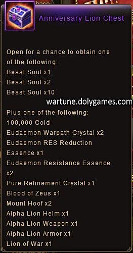 Anniversary Lion Chest item description