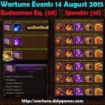 Wartune Events 14 August 2015