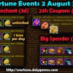 Wartune Events 2 August 2015