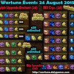 Wartune Events 24 August 2015