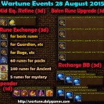 Wartune Events 28 August 2015