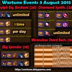 Wartune Events 3 August 2015
