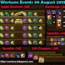 Wartune Events 30 August 2015