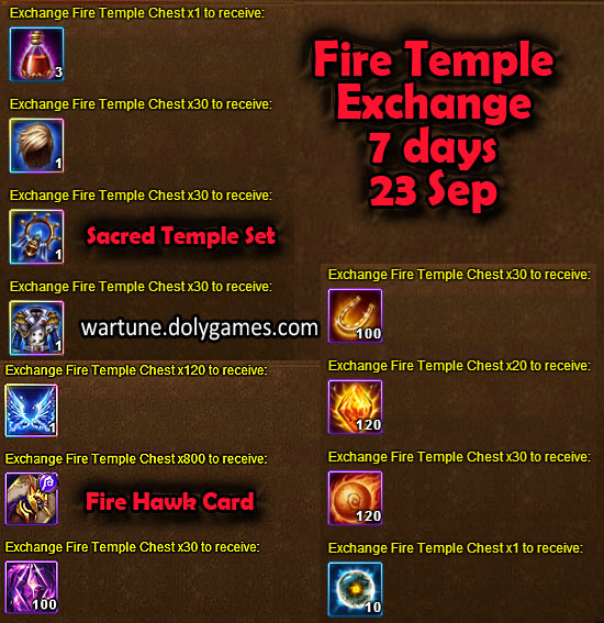 Fire Temple Exchange 7 days 23 Sep