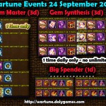 Wartune Events 24 September 2015