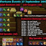 Wartune Events 27 September 2015