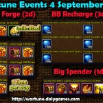 Wartune Events 4 September 2015