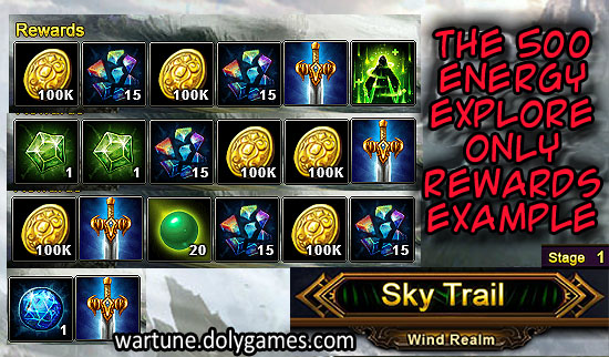 Example 2 Rewards Only Explore of Sky Trail