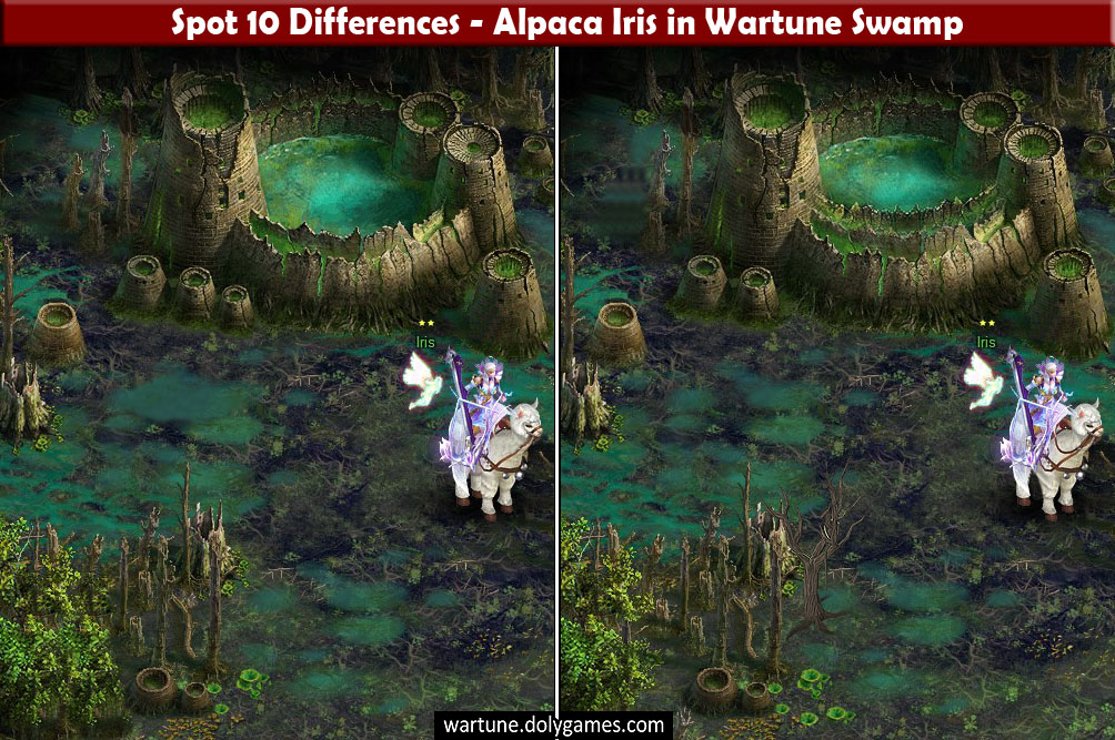 Spot 10 Differences - Alpaca Iris in Wartune Swamp