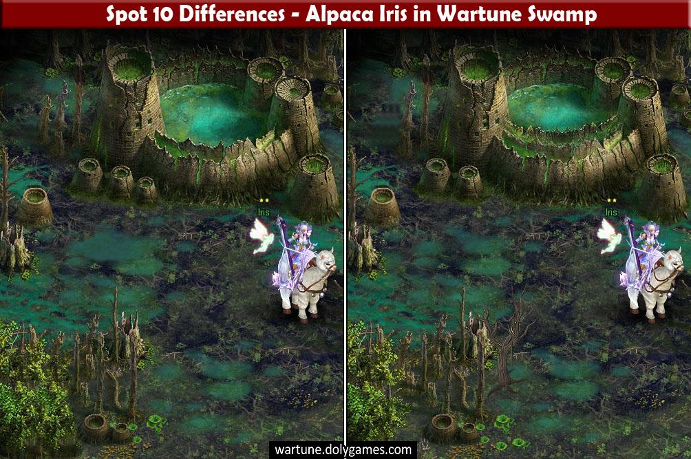 Spot 10 Differences - Alpaca Iris in Wartune Swamp