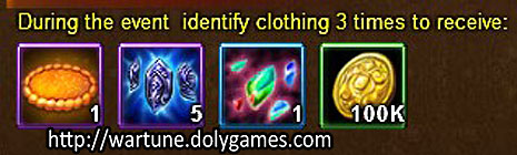 Clothing identification rewards - Wartune Events 15 November 2015