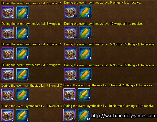 Clothing synthesis rewards 2 - Wartune Events 15 November 2015