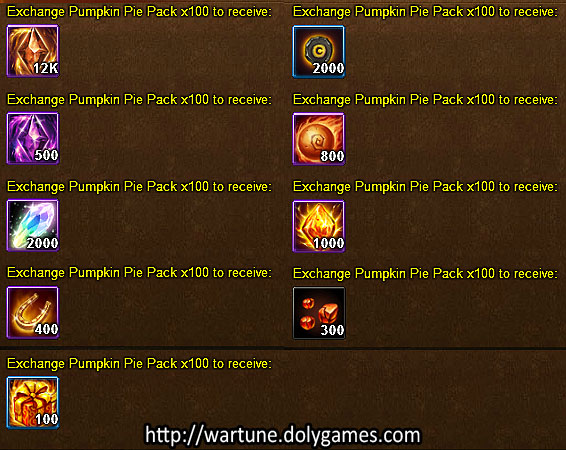 Pumpkin Pie Exchange - Wartune Events 13 November 2015