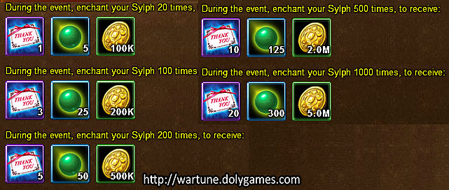 Sylph Enchant daily - Wartune Events 23 November 2015