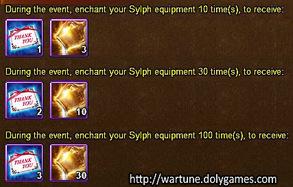 Sylph Equipment Enchant daily - Wartune Events 24 November 2015