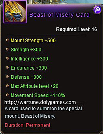 Beast of Misery Card item description Wartune