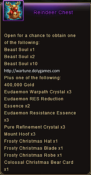 Reindeer Chest item description Wartune