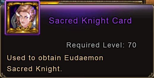 Sacred Knight Card item description Wartune