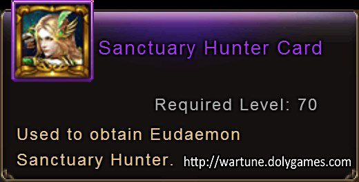 Sanctuary Hunter Card item description Wartune