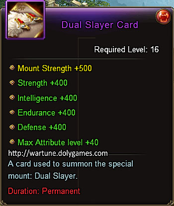 Dual Slayer mount card (+400 stats) item description Wartune