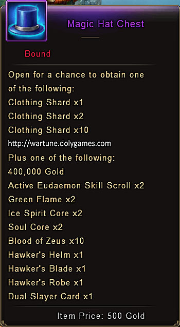 Magic Hat Chest item description Wartune