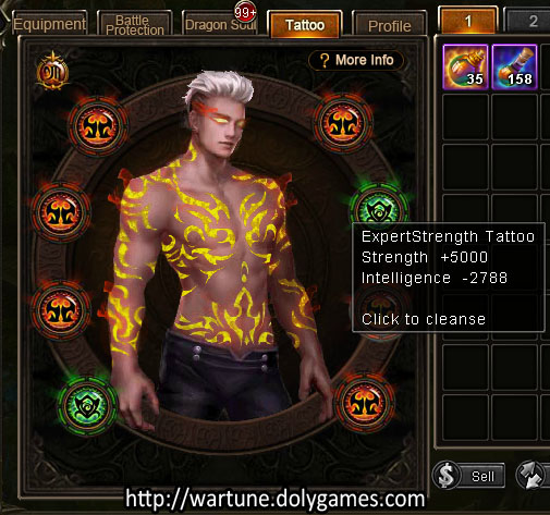 5000 max tattoo stats strength Wartune iceade