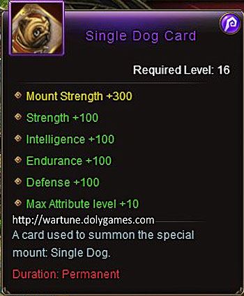 Single Dog Card +100 item description Wartune