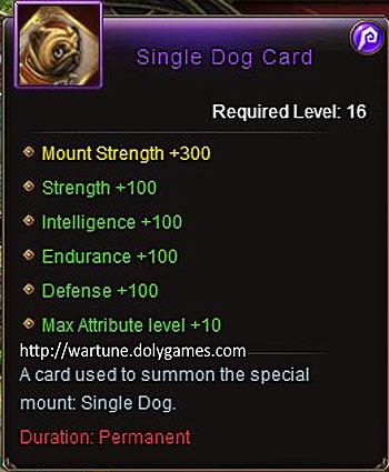 Single Dog Card +100 item description Wartune