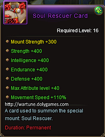 Soul Rescuer +400 mount item description Wartune
