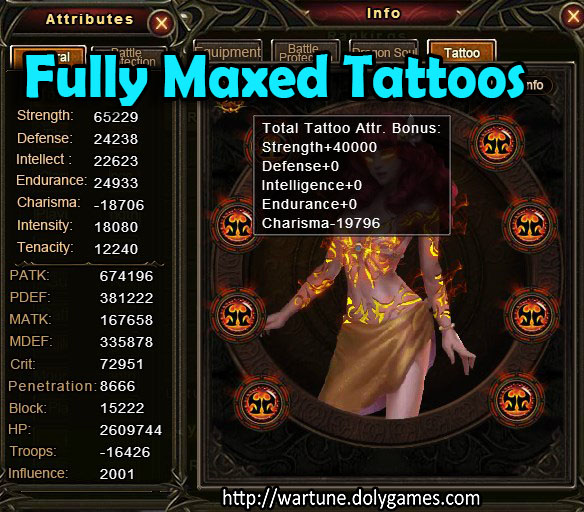 Fully Maxed Tattoos Wartune unbelievable