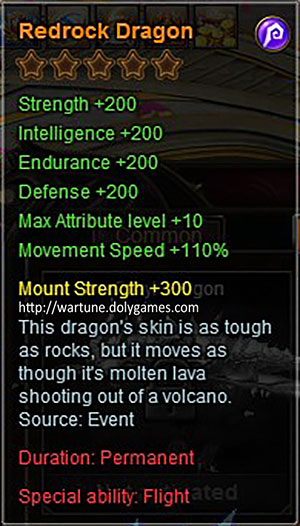 Redrock Dragon +200 mount description Wartune