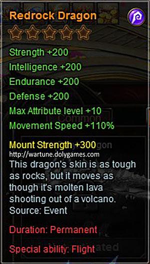 Redrock Dragon +200 mount description Wartune