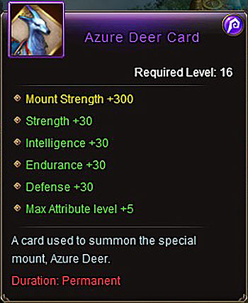 Azure Deer Card (+30) mount item Titan War