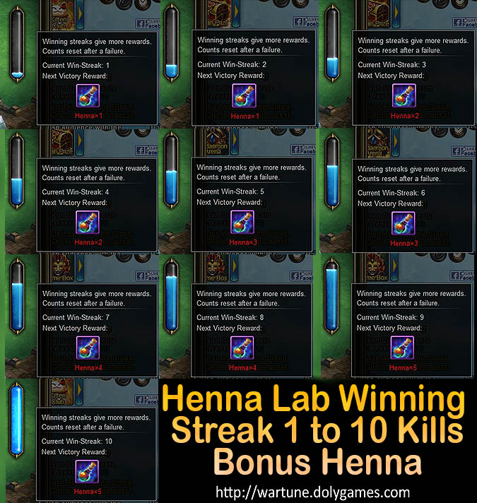 Henna Lab Winning Streak 1-10 kills