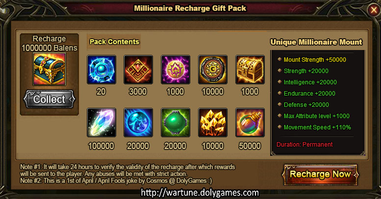 Millionaire Recharge Gift Pack