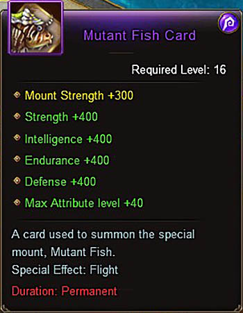 Mutant Fish Card (+400) mount Wartune