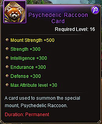 Psychedelic Raccoon (+300) mount card Wartune