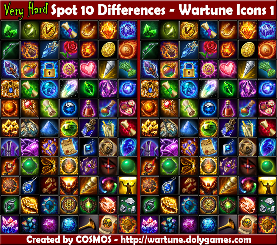 spot 10 differences - wartune icons 1
