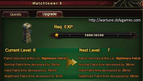 Watchtower level 6 and 7 upgrade stats