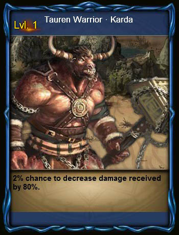 MPD Tauren Warrior Karda Card Wartune large
