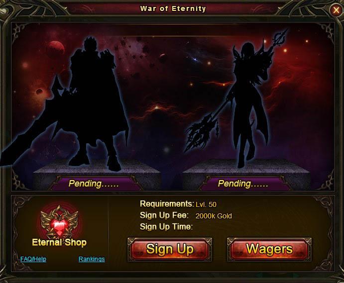 War of Eternity - main window